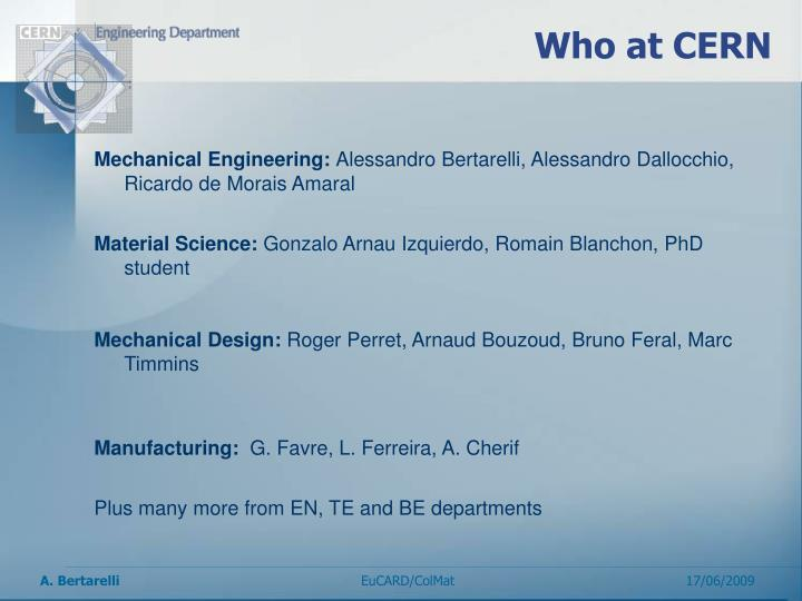 Who at CERN
