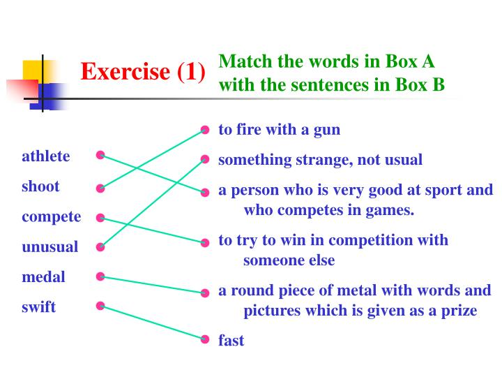 Match the words in Box A with the sentences in Box B