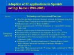 adoption of it applications in spanish savings banks 1968 2005