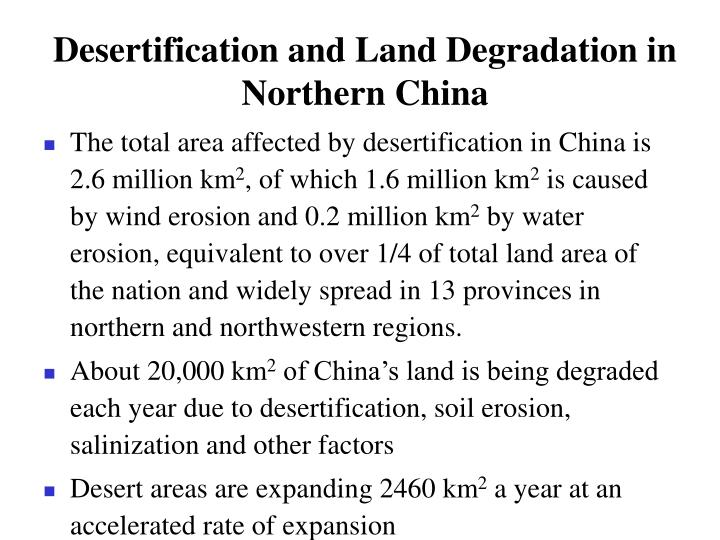 Desertification and Land Degradation in Northern China