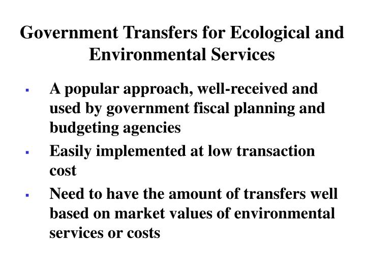 Government Transfers for Ecological and Environmental Services