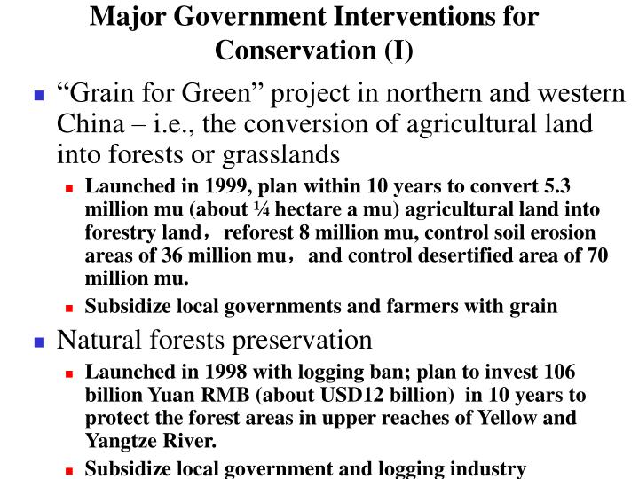 Major Government Interventions for Conservation (I)