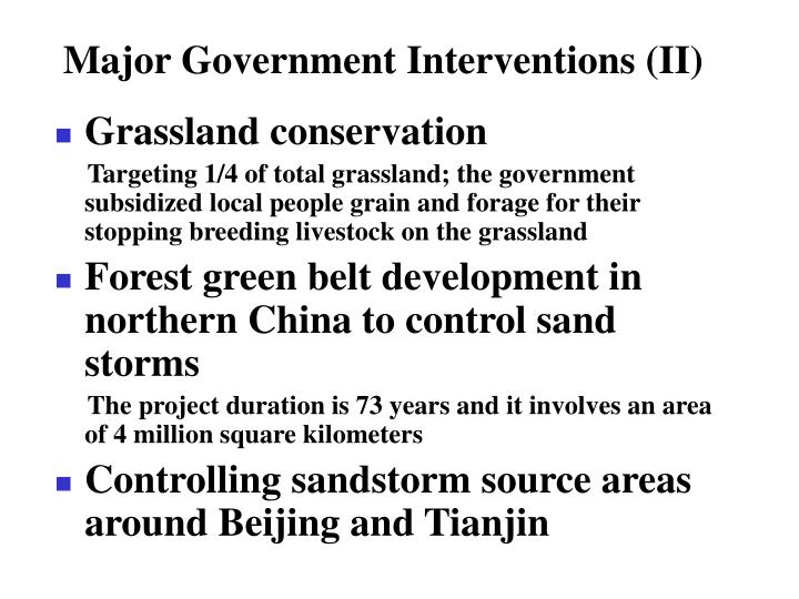 Major Government Interventions (II)