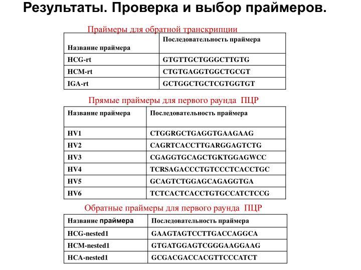Праймеры для обратной транскрипции