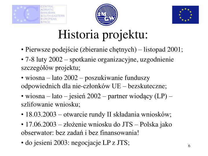 Historia projektu: