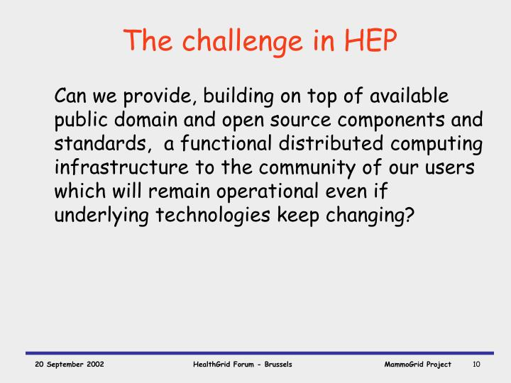 The challenge in HEP