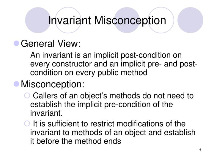 Invariant Misconception