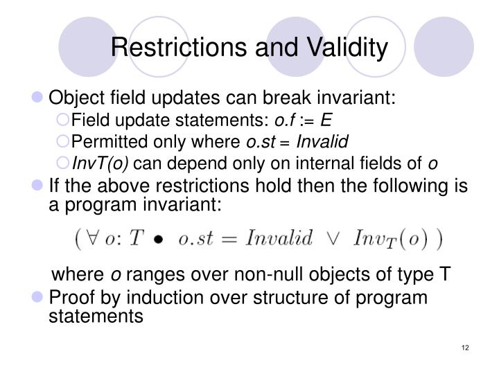 Restrictions and Validity