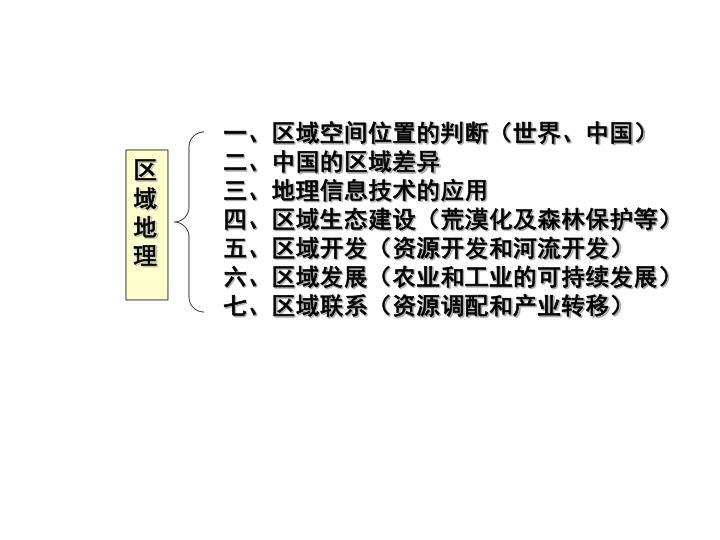 一、区域空间位置的判断(世界、中国)