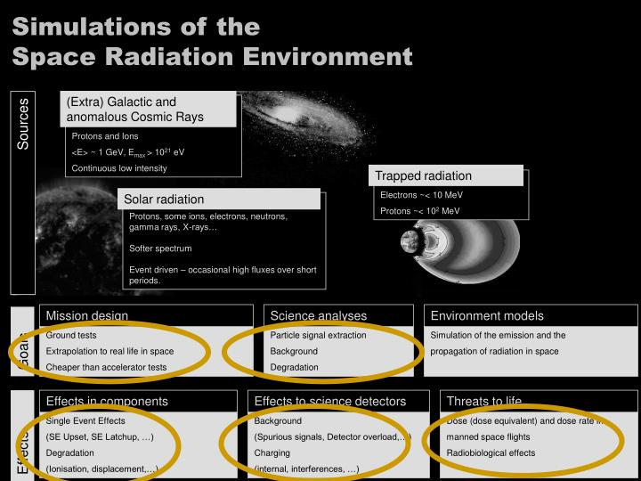 Simulations of the space radiation environment
