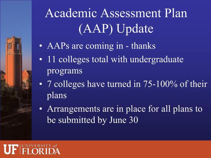 Academic Assessment Plan (AAP) Update