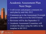 academic assessment plan n ext steps