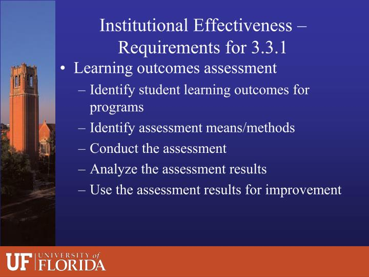 Institutional Effectiveness – Requirements for 3.3.1