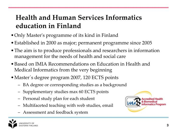 Health and human services informatics education in finland