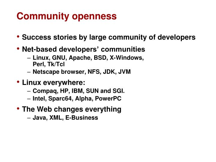 Community openness