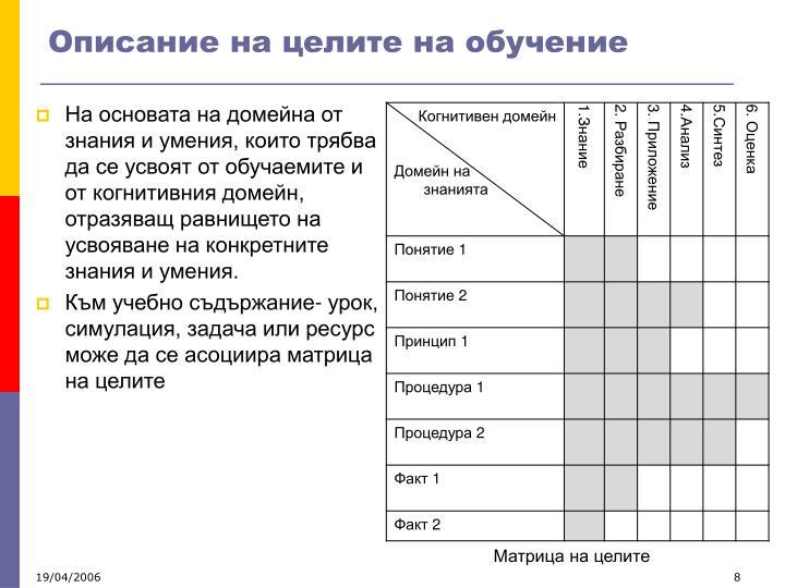 Описание на целите на обучение