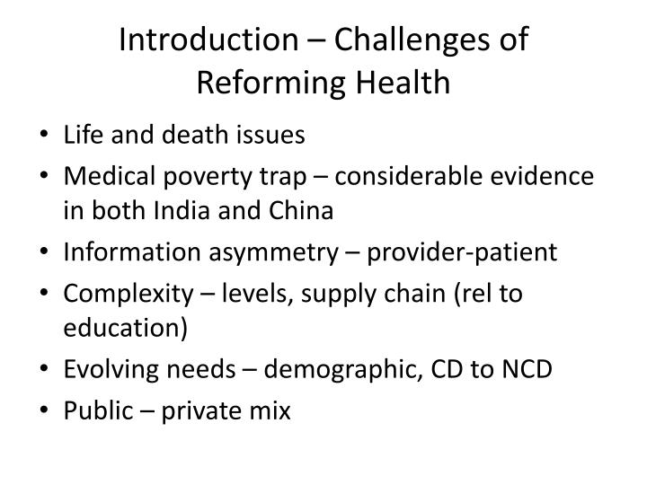 Introduction challenges of reforming health
