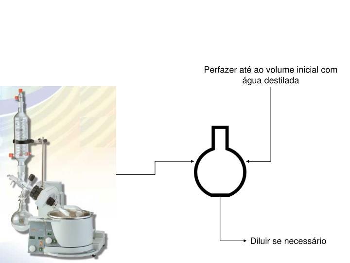 Perfazer até ao volume inicial com água destilada
