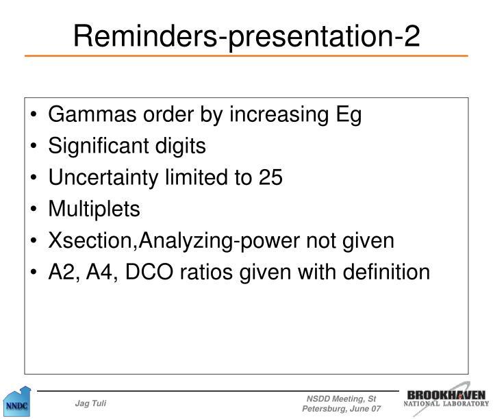Gammas order by increasing Eg