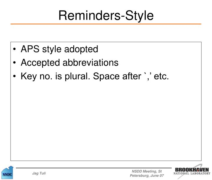 APS style adopted