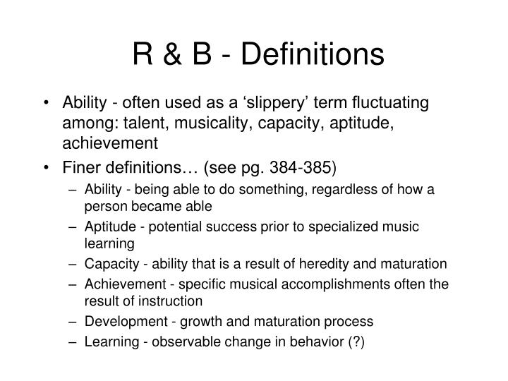 R & B - Definitions