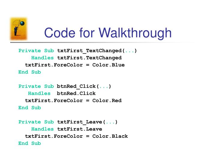 Code for Walkthrough