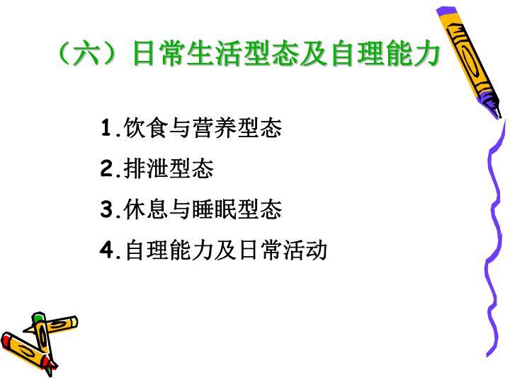 (六)日常生活型态及自理能力
