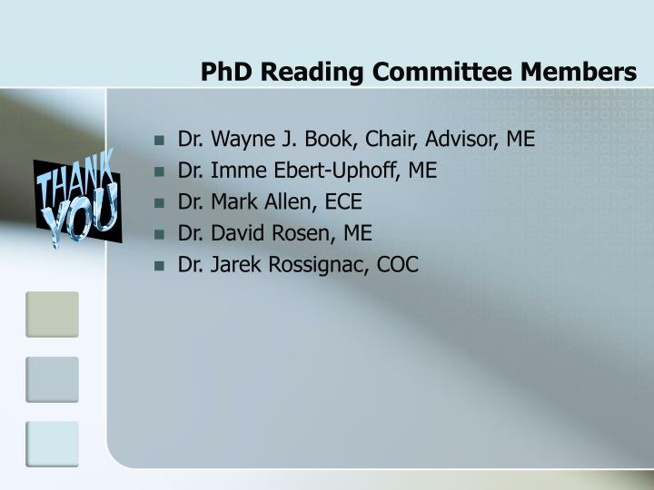 PhD Reading Committee Members