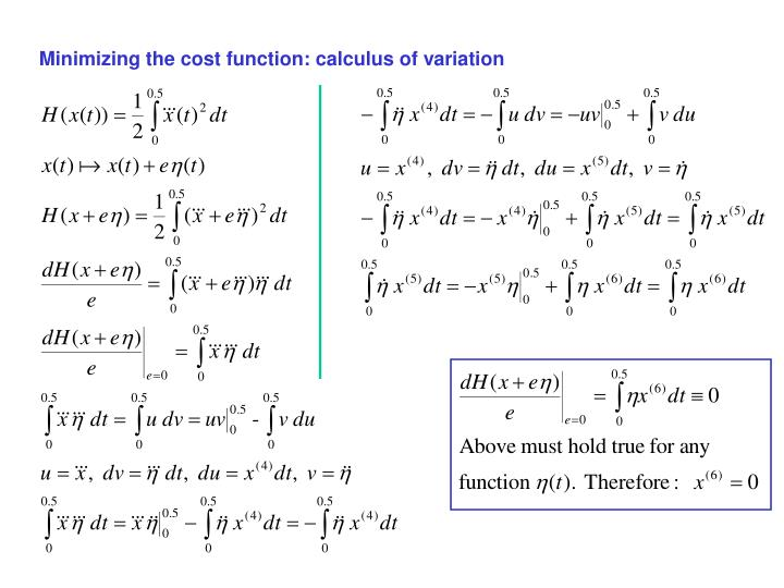 Minimizing the cost function: calculus of variation