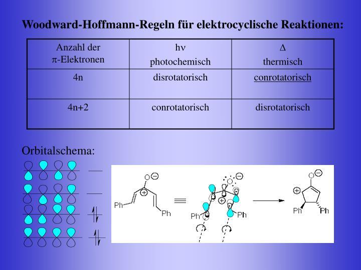 Woodward-Hoffmann-Regeln für elektrocyclische Reaktionen:
