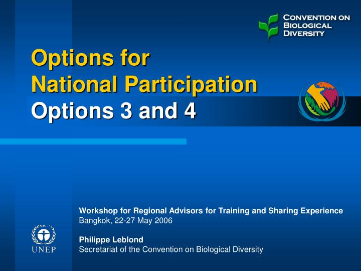 Options for national participation options 3 and 4