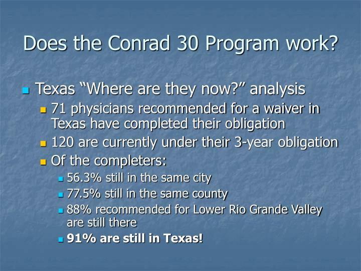 Does the Conrad 30 Program work?