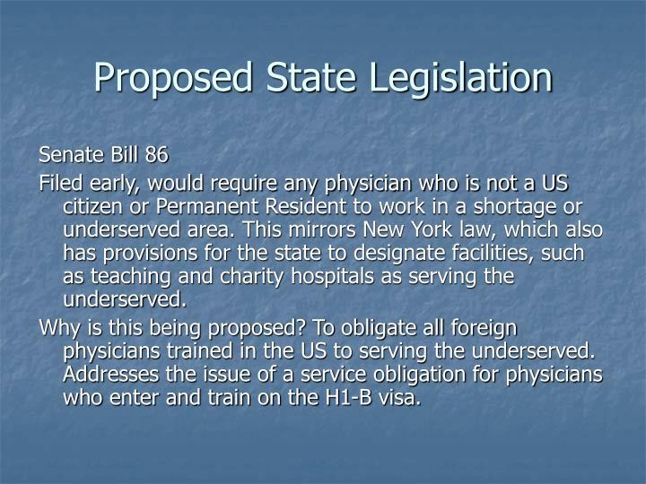Proposed State Legislation