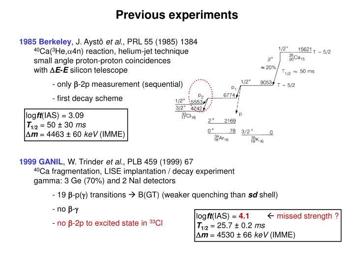 Previous experiments