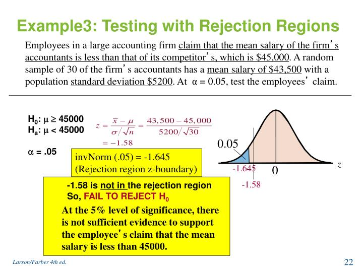 Example3: Testing with Rejection Regions