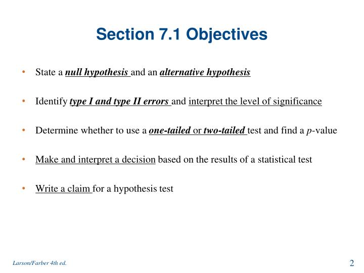 Section 7.1 Objectives