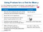 using p values for a z test for mean