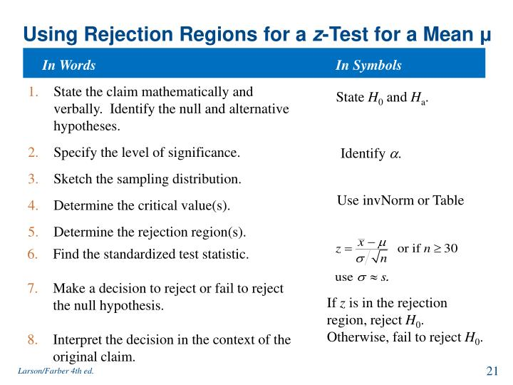 Using Rejection Regions for a