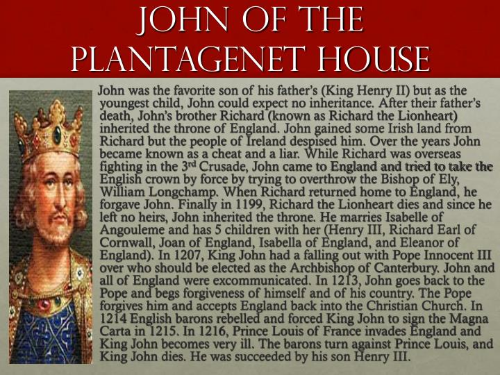 John Of The Plantagenet House