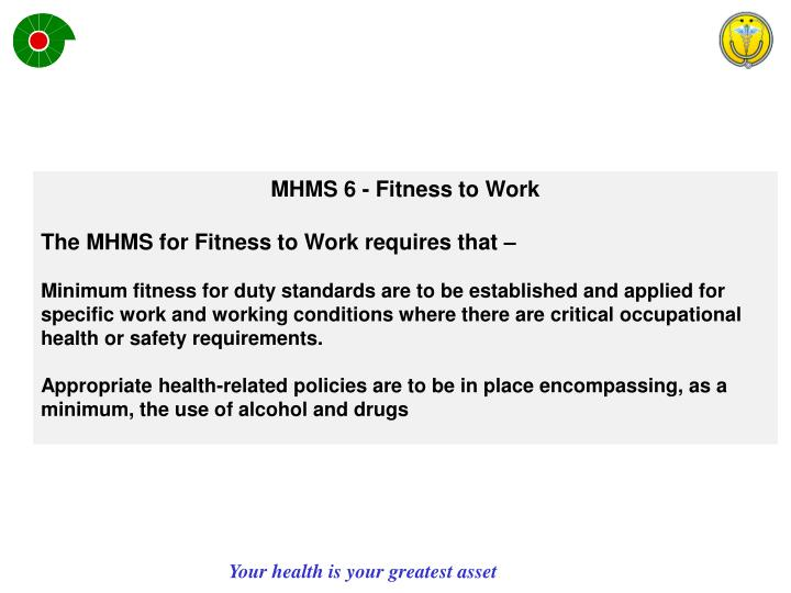 MHMS 6 - Fitness to Work