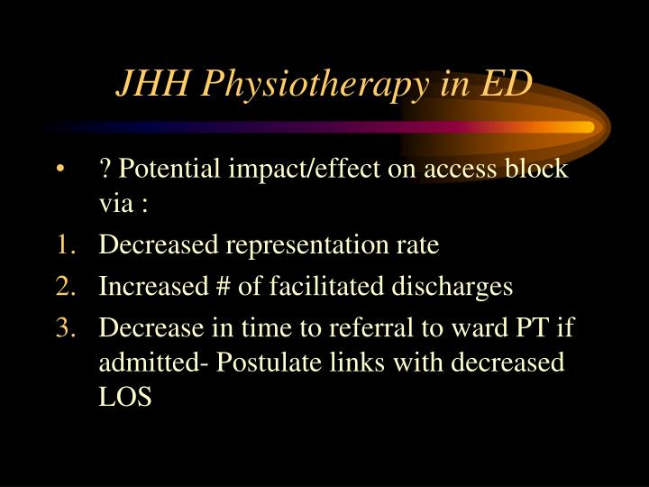 JHH Physiotherapy in ED