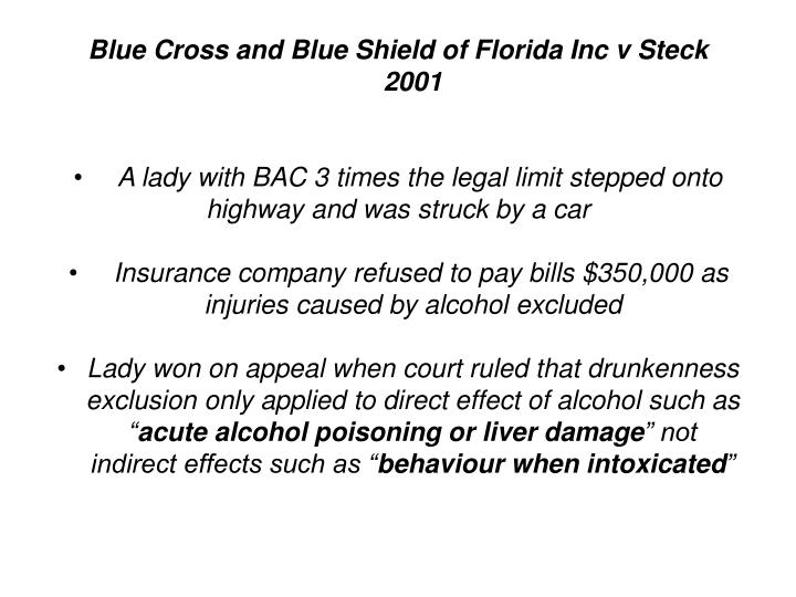 Blue Cross and Blue Shield of Florida Inc v Steck 2001