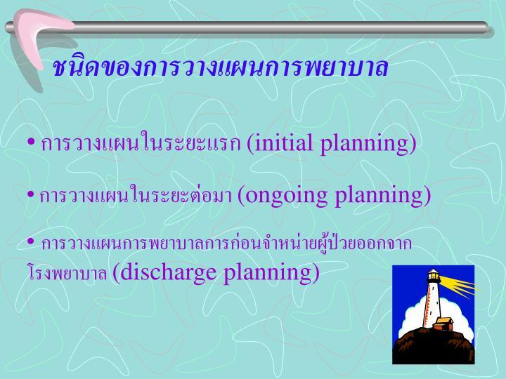 ชนิดของการวางแผนการพยาบาล
