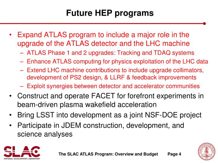 Future HEP programs