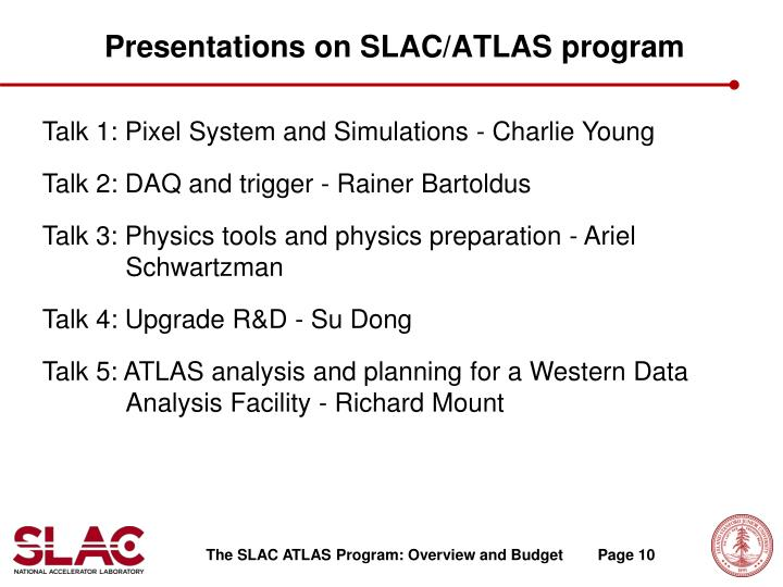 Presentations on SLAC/ATLAS program