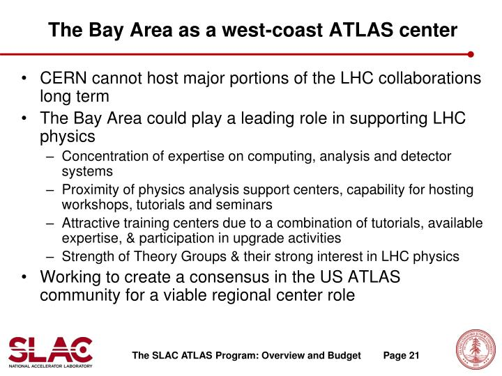 The Bay Area as a west-coast ATLAS center
