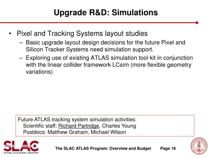 Upgrade R&D: Simulations