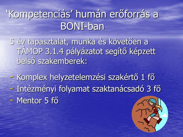 'Kompetenciás' humán erőforrás a BONI-ban