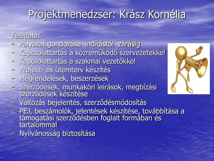 Projektmenedzser: Krász Kornélia