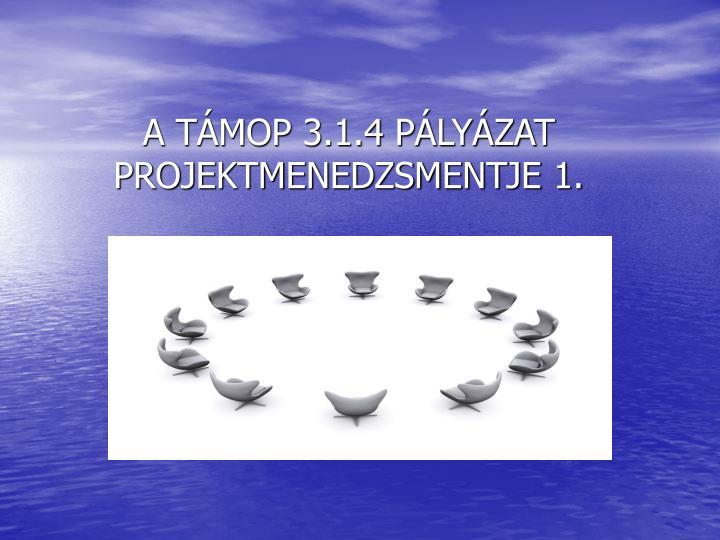 A TÁMOP 3.1.4 PÁLYÁZAT
